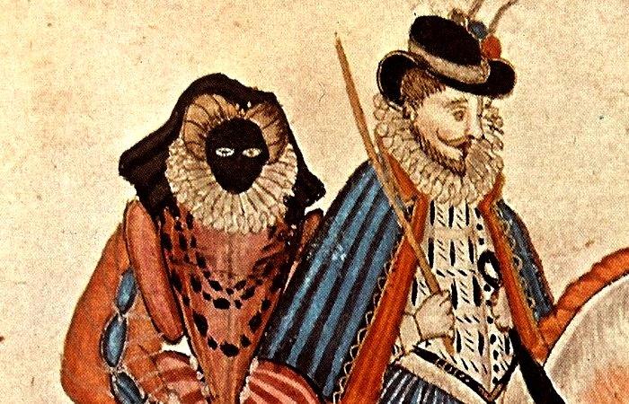 Женщина в страшной черной маске. | Фото: upload.wikimedia.org.